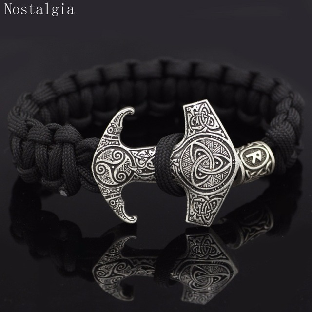 Nostalgia Odin Raven Vikingos Thor Hammer Mjolnir Triskele Trinity Viking Jewelry Bracelet Valknut Vegvisir Rune Slavic Vikinga 1
