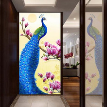 advanced custom 3d photo wallpaper mural fabric modern mystery blue peacock oil painting for hallway door living room decor