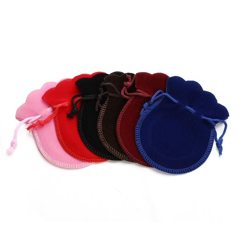 10pcs/lot 5x7/7x9/9x12cm Velvet Bag Drawstring Pouch Black Red Calabash Jewelry Packing Bags Wedding Christmas Gift Bag