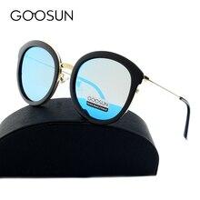 Goosun 2017 высокое качество мода cat eye солнцезащитные очки женщины поляризовыванная марка дизайнер uv400 солнцезащитные очки зеркало розовый объектив с коробкой