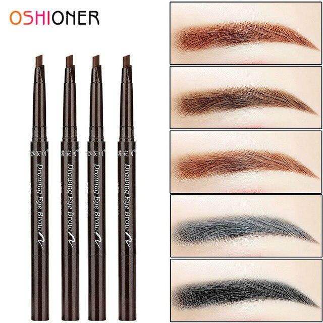 OSHIONER 1 unid de larga duración pintura lápiz de cejas con el cepillo de cejas impermeable negro marrón automática de cejas tinte herramienta de maquillaje