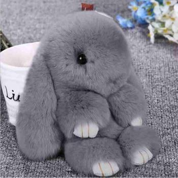 2018 New Rabbit Keychain Cute Fluffy Bunny Keychain Rex Rabbit Fur Pompom Key Ring Pom Pom Toy Doll Bag Charm Car Key Holder rose