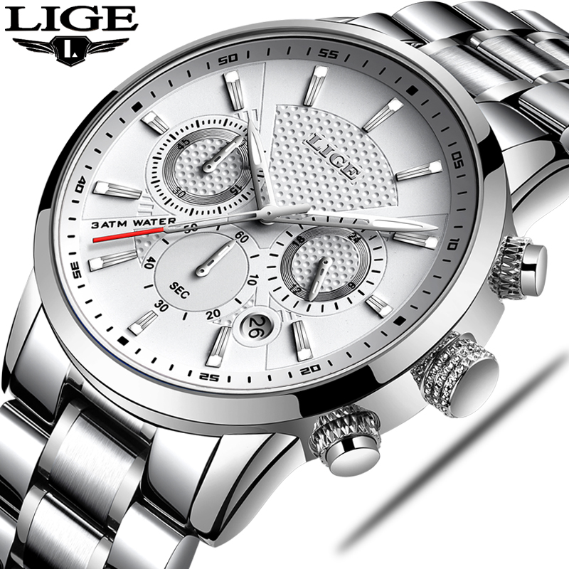 LIGE Mens Watches Top Brand Luxury Leather Casual Quartz Watch Men Military Sport Waterproof Clock Silver Watch Relogio Masculin