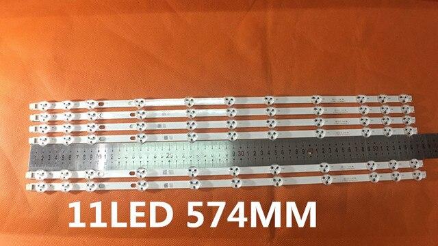 2 개/몫 BANDE LED VESTEL 32 인치 REV0.2 TIS 4A 94V 0 1612 VES315WNDA 01 NUEVAS 11LED 574 MM