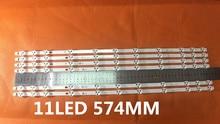 2 peças/lote bande led vestel 32 polegadas rev0.2 TIS 4A 94v 0 1612 VES315WNDA 01 nuevas 11led 574mm