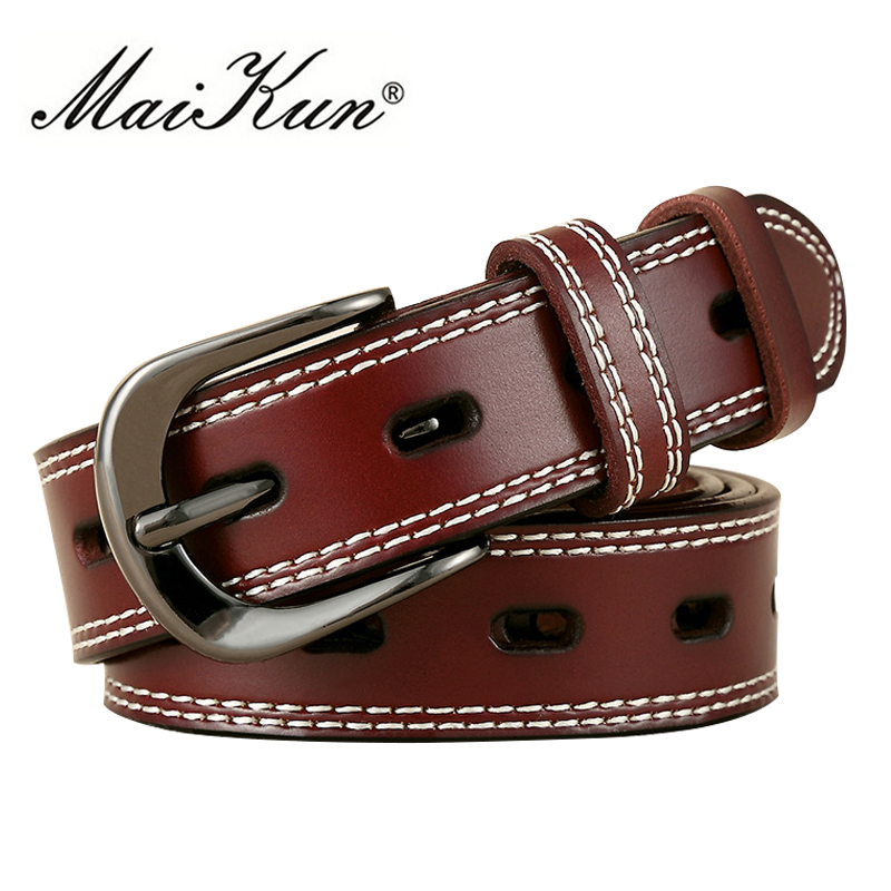 Luxury Genuine Leather Belts For Women Top Quality Cowskin Women's Belt Vintage Metal Buckle Strap For Jeans Fashion Accessories