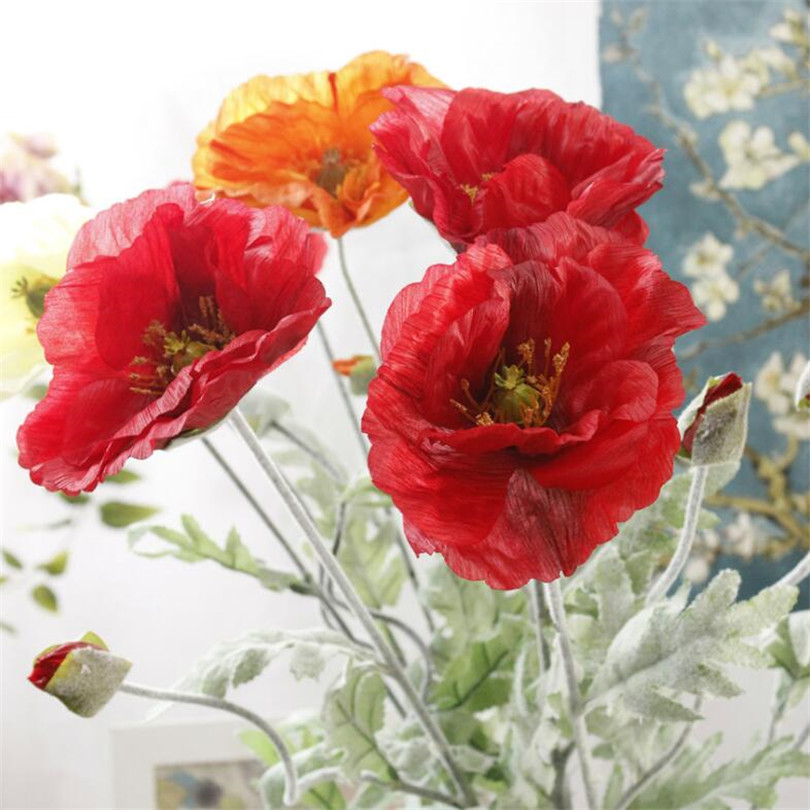 Us 1254 34 Off6pcs Artificial Corn Poppy Blossom Branch Whiteredorange Color 2256 Silk Long Stem Flocking Poppy Flower Decorative Flowers In