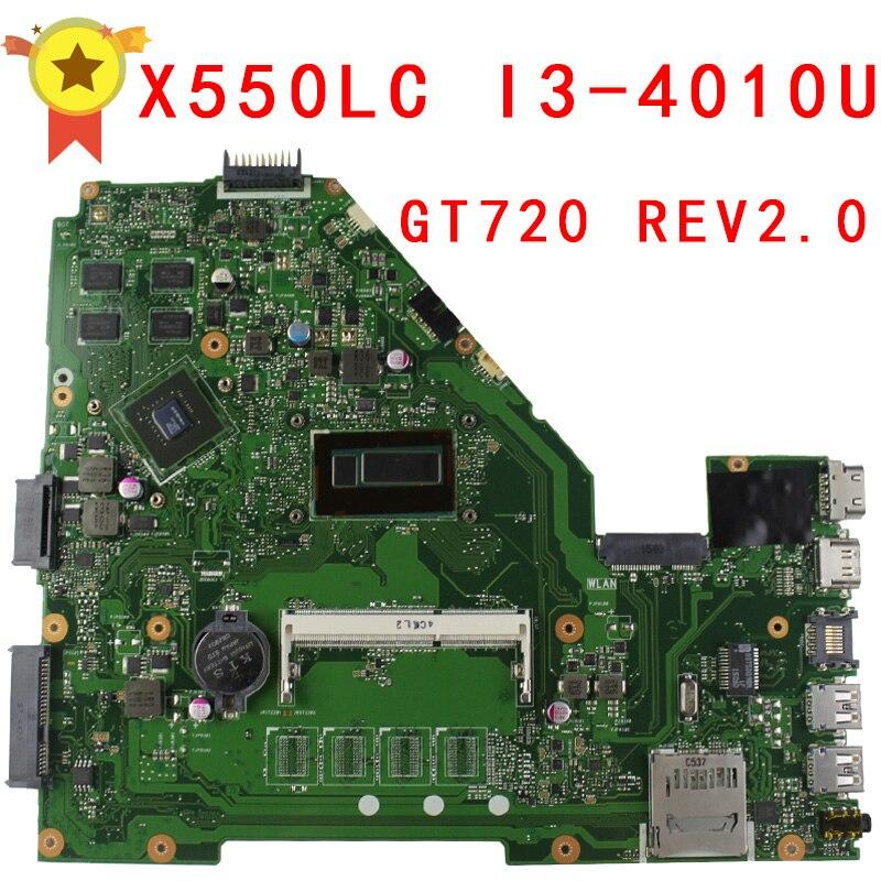 Original For Asus X550 X550l X550LC Motherboard X550LC REV2.0 Mainboard I3-4010U GT720 Fit X550lb A550LB A550LC 100% test russian keyboard for asus r510vx r510vb r510 r510l r510lb r510lc r510ld r510ln x550dp x550lb x550lc ru black