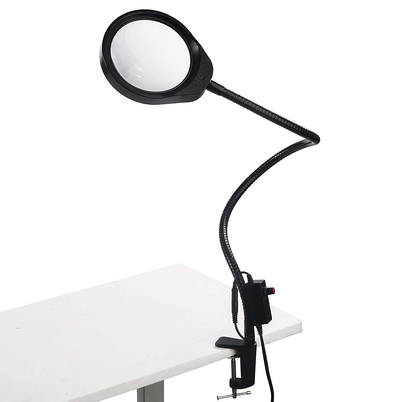 LED Illuminating Magnifier 10x 20x Óptico Vidro Mesa Clip-on Lâmpada Lupa para Inspeção PCB, Beleza, odontologia