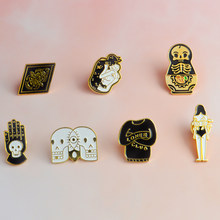 Loner Club Skeleton Palm Totem Bundle Girl Enamel Brooch Denim clothes Pin Buckle Shirt Button Badge Fashion Gift for Friend(China)