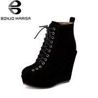 Bonjomarisa mujeres Encaje hasta la vendimia de alta cuña Zapatos mujer redonda dedo del pie plataforma Botines tamaño grande 34-43