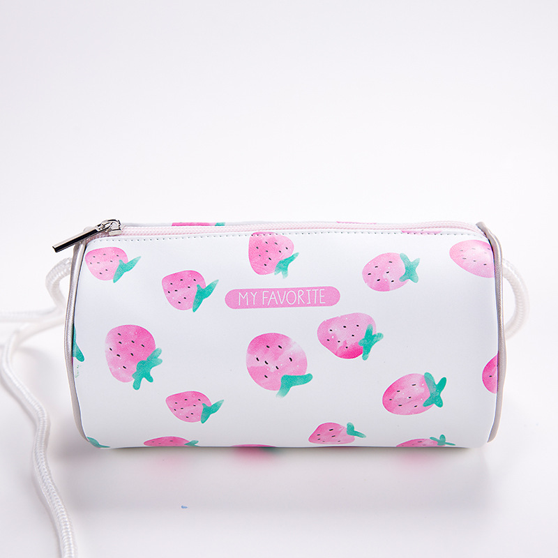 PACGOTH Fresh Fruit Zipper Pocket PU Leather Straberry Bags Cartoon Printing Sweet Strawberries Shoulder & Corssbody Bags 1 PC