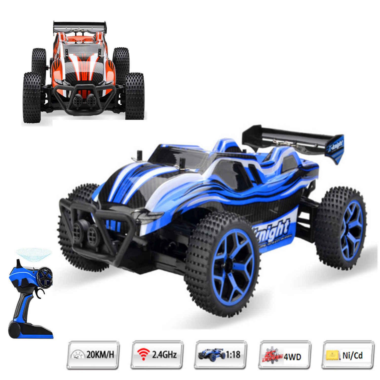 1/18 ölçekli RC araba 4CH Off-Road araçlar modeli oyuncak 20 km/saat yüksek hızlı kir bisiklet elektrikli uzaktan kumanda araba çocuklar için oyuncaklar büyük satış