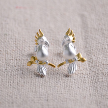 2017 New Parrot Sterling Silver Stud Earrings For Women Sterling-silver-jewelry Fidget Spinner Anime Gifts For Girls