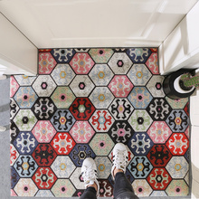 купить Nordic Entrance hall carpet PVC wire loop mat INS geometric plant flower Door mat Living room floor mat bathroom non-slip rug по цене 3132.81 рублей