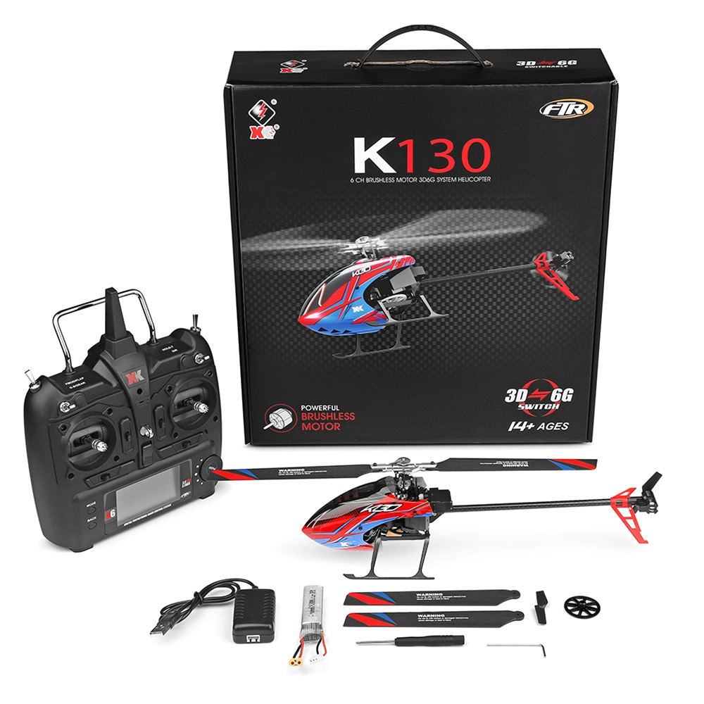 2019 XK K130 2 4G 6CH Brushless 3D6G System Flybarless RC Helicopter Compatible For Children Outdoor