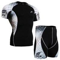 Compressione degli uomini Manica Corta Maglietta e Pantaloncini Set Sport Training Gym Suit Abbigliamento Quick Dry Traspirante T-shirt Stampate Bottoms