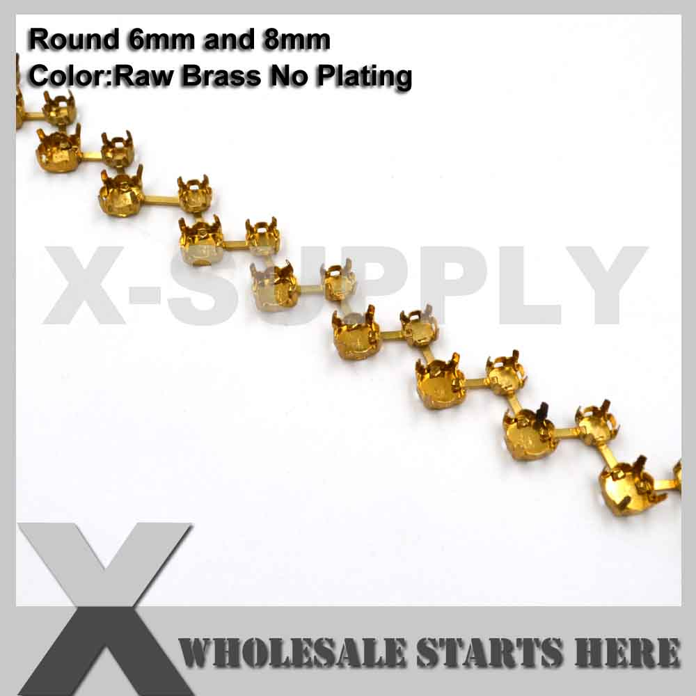 6mm and 8mm Round Hollow Empty Cup Chain Without Rhinestones for Craft Shoe Jewelry Apparel