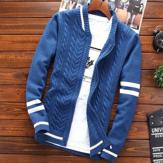 b451126d17b31 Мужской свитер пальто кардиган молния 2019 осень и зима корейский стиль  тренд мужской тонкий свободный студенческий
