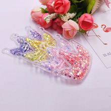 12pcs/lot 5.5*4.2cm Crown Transparent Bling bling Star Flowing Patches Appliques for Children clip and DIY Hair Clip Accessories