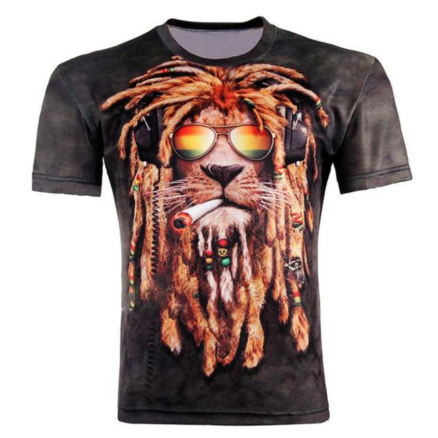 69508865f57 Divertido Hip Hop estilo 3D impreso camisetas Cool Animal León fumar gafas  de sol hombres Camiseta