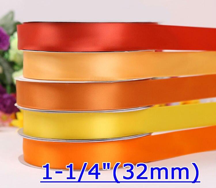 """[IuBuFiGo] 1-1/""""(32 мм) одно Лицо Атласная Лента Упаковочная Лента 100 Двор/lot"""