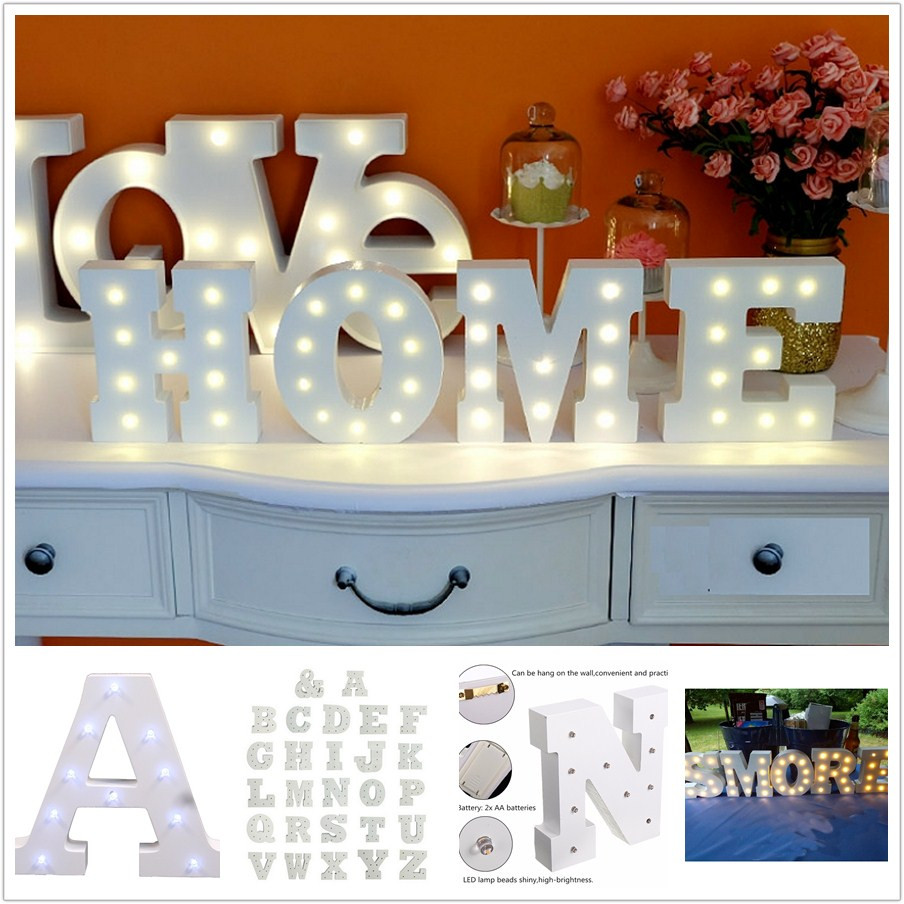 6'' White Wooden Letter LED Marquee Sign Alphabet Light Indoor Wall Light Up Night Light Wedding Event Decoration Gifts