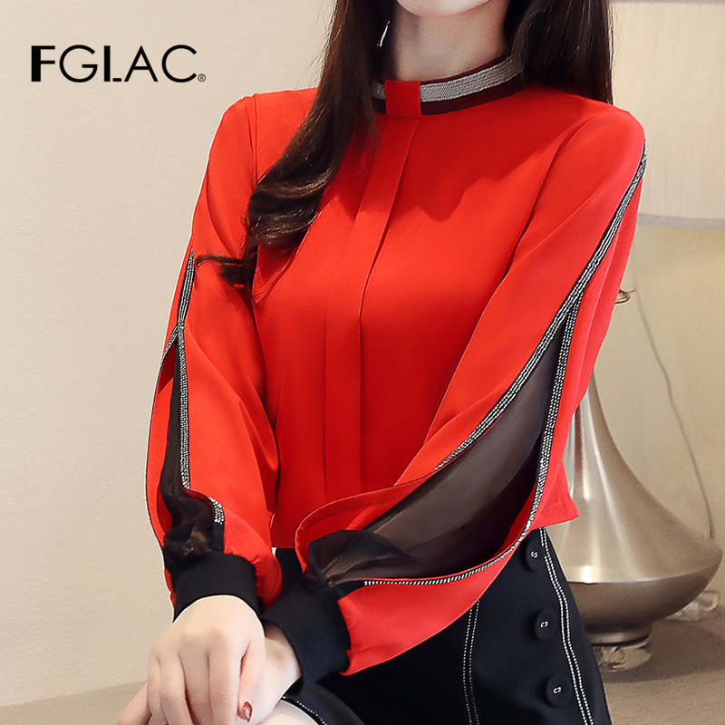 FGLAC   Blouse   Women   shirt   New 2019 Casual long sleeve   shirt   Chiffon   blouse     shirt   Elegant   blouses   Office Lady Hollow out blusas