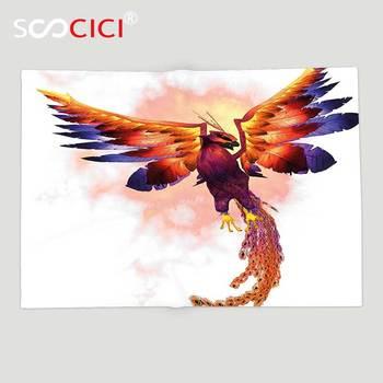 Custom Soft Fleece Throw Blanket Animal Decor The Phoenix Firebird with Large Wings Illustration Mythical Symbol Print Orange