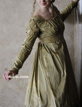 CUSTOM Olive Green Jane Austen Style Regency Gown Dress with long sleeves and lattice work/Period dress/Holiday dress