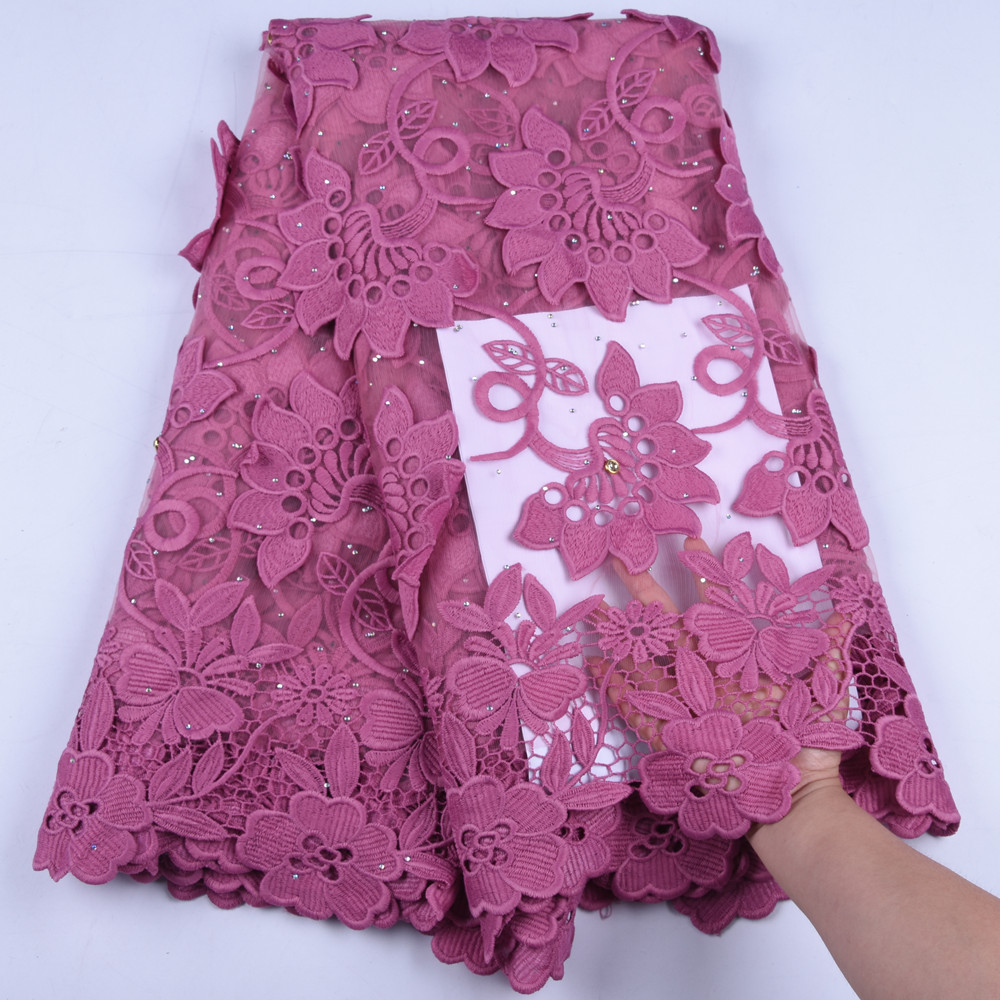 High Quality Milk Silk Lace Fabric Fashion Flower French Milk Silk Lace Fabric With Stone African