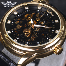 2016 New WINNER Top Luxury Brand Men Watch Automatic Self-Wind Skeleton Watch Black Gold Diamond Dial Men Business Wristwatches