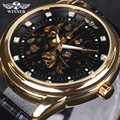 2016 Nuevo Top Luxury Brand Hombres Reloj Automático Auto-Viento Esqueleto Reloj de Oro Negro del Dial del Diamante Hombres de Negocios relojes de pulsera
