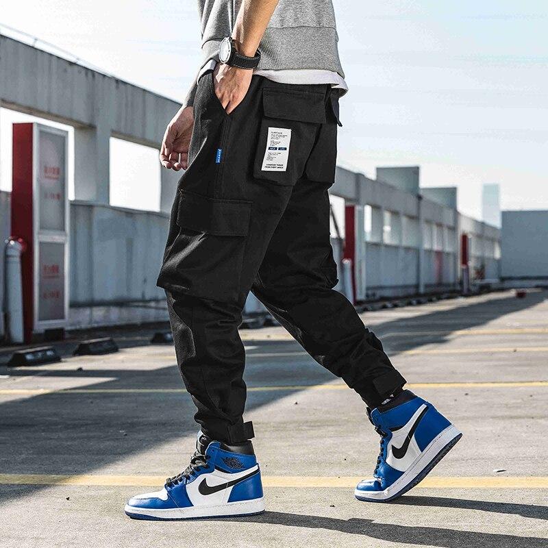 Men Black Joggers Pants Summer 2019 Mens Big Pockets  Harem Cargo Pants Male Streetwear Overalls Sweatpants Pencil Pants