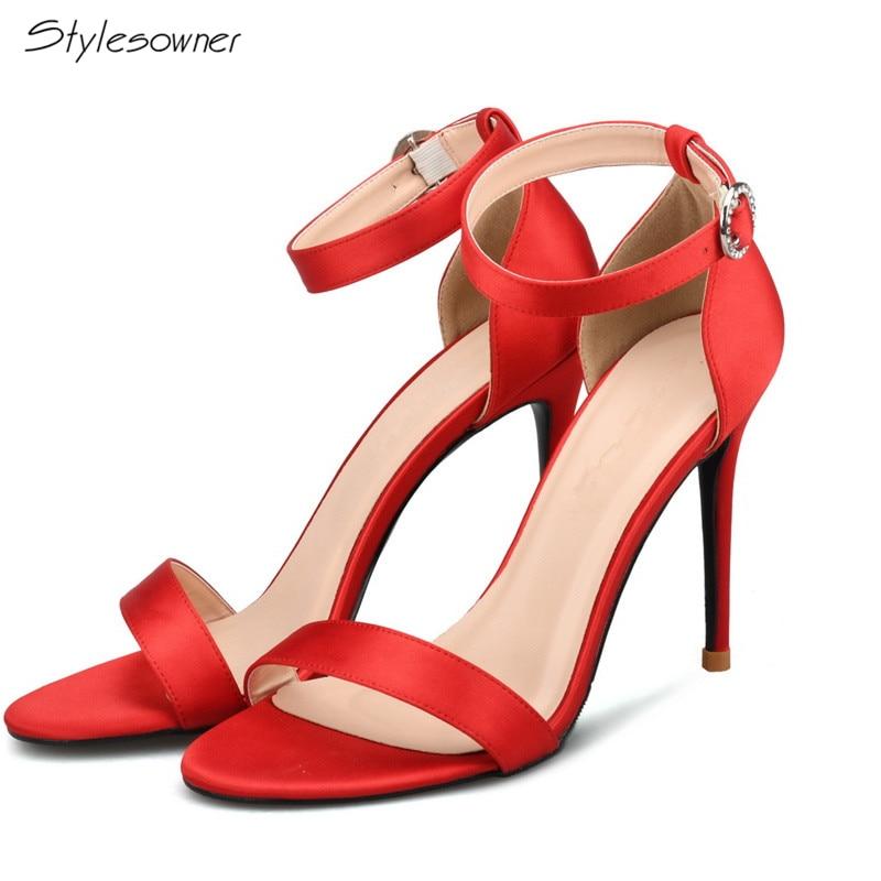 Stylesowner 2018 Summer Ankle Buckle Strap Sandals High Heel Sandals Silk Open Toe Shoes Thin Heels Ladies Wedding New Sandals все цены