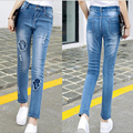 Slim Large size Jeans women Autumn 2016 new Slim Feet jeans casual long pants Mujer Blue 5XL Slim women jeans