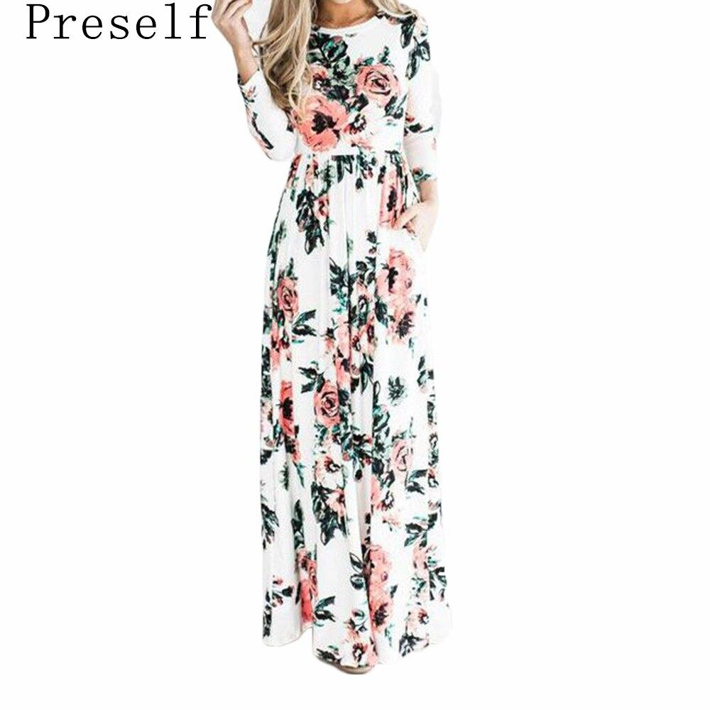 Preself Moda Floral Impreso Largas Mujeres Del Vestido Ocasional Del O-cuello 3/