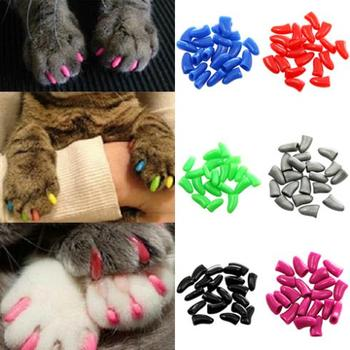 New 20Pcs/Lot Colorful Soft Pet Dog Cats Kitten Paw Claws Control Nail Caps Cover Size XS S M L XL XXL With Adhesive Glue