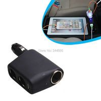 Car Charger Cigarette Lighter Sockets 90 Degree Rotating 3 In 1 USB Car Charger Adapter For