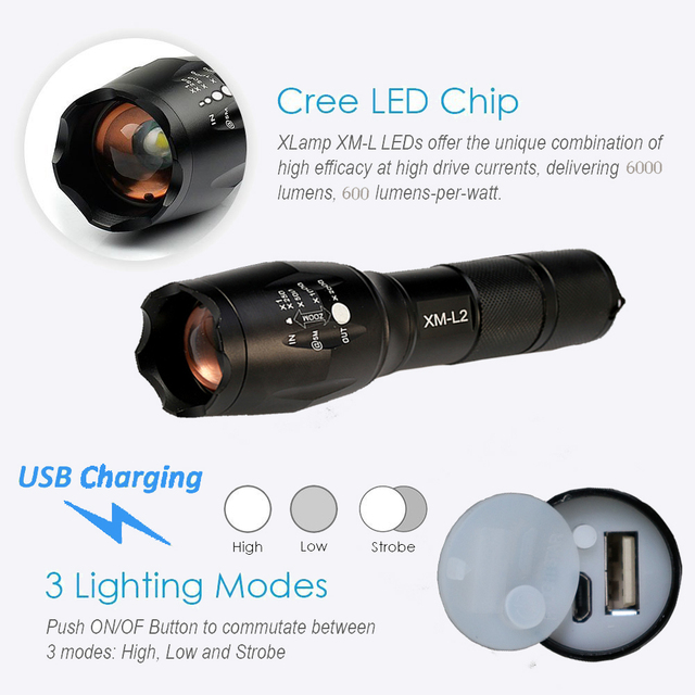 2017 USB Flashlight 8000 Lumens X900 LED CREE XM-L2 T6 Tactical Torch Zoomable Powerful Light Lamp Lighting For USB Charger