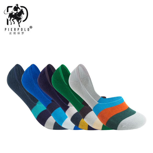 5 Pairs PIER POLO fashion casual Hot Sale Good Quality Boat Socks New Summer Style men Low Socks Invisible Cotton Socks Slippers
