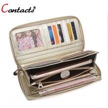 CONTACT'S Echtem Leder Geldbörse Weiblichen handtasche Handliche Geldbörse Kupplung Weiblich Kartenhalter Handytasche Handtasche Perse Brieftasche Frauen