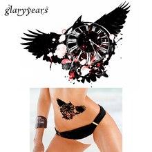 Hot 1 Sheet Waterproof Fashion Beauty Black Time Wing Decal Tattoo KM-086 Women Men Flower Arm Body Art Temporary Tattoo Sticker