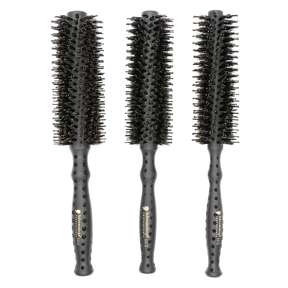 LOTS BEAUTY Brown Boar Bristle Round Hair Brush , Hair Pear Cylinder Style Comb , Wooden Rolling Brush Set 3 Pcs Free Shipping