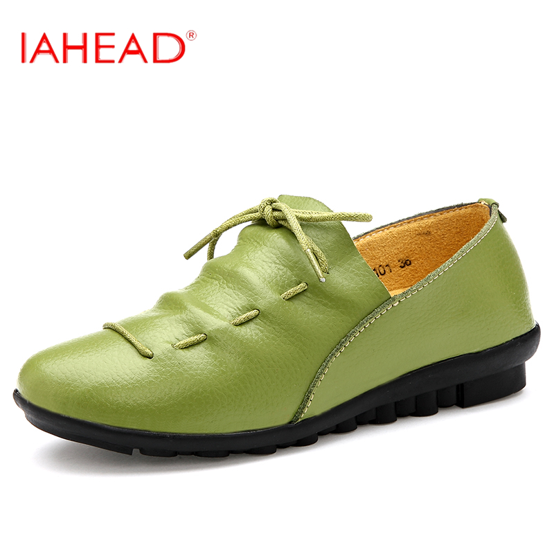 Women Shoes For Summer Spring Fashion Lace Up Genuine Leather Flats Casual Basic Style Breathable Loafers LXD591 2016 spring and summer free shipping red new fashion design shoes african women print rt 3