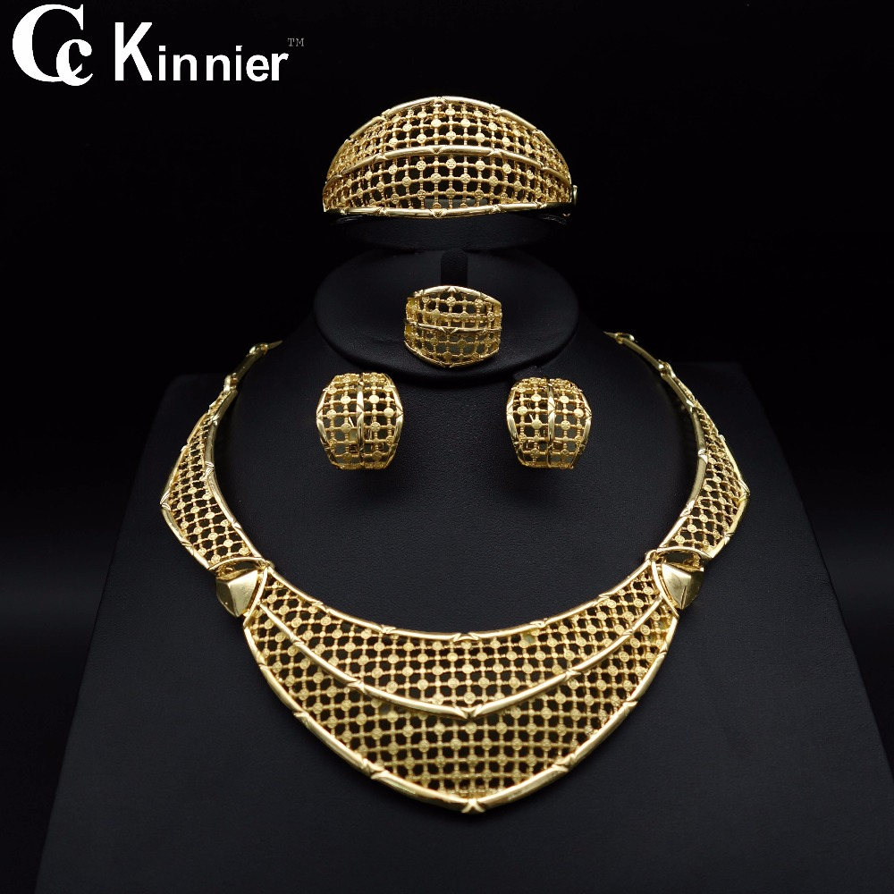 Fashion New Dubai gold-color wedding jewelry set Bridal African beads Exaggerated Attractive women Necklace Bangle Earring Ring