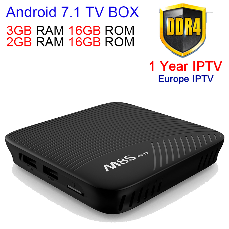 Android 7.1 TV BOX M8S Pro 3 GB/32 GB Amlogic S912 Set top caja de 3G/16G Blueto