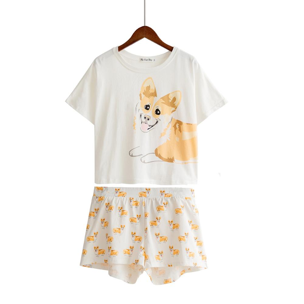 Women's Sleepwears Women Corgi Dog Print Sets 2 Pieces Pajama Suits Crop Top And Sweet Shorts Stretchy Loose Tops Plus Size Elastic Waist S80903l Making Things Convenient For Customers