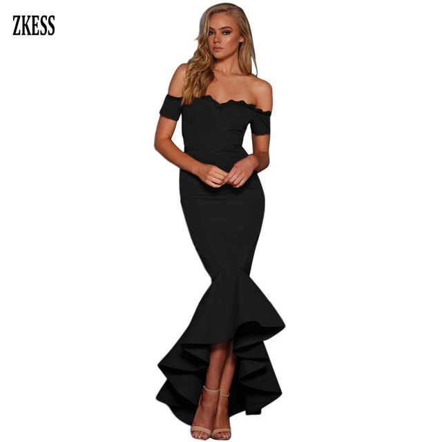 Zkess Women Scalloped Lace Trim Off Shoulder Mermaid Dress Sexy Strapless  Sleeveless Hi-low Ruffles Party Maxi Dress LC610874 08e1fc36058d
