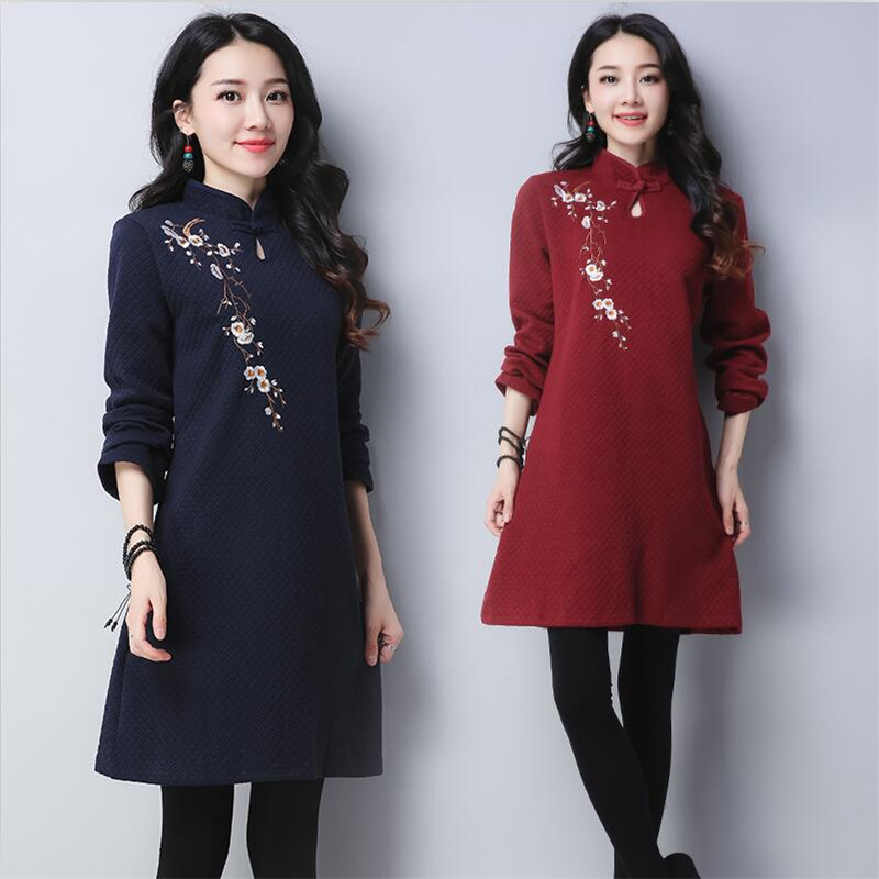 Retro 2019 Women's Long Sleeve Floral Embroidery Short Mini Dress Stand Collar Casual Cotton Dress Autumn Winter Kaftan